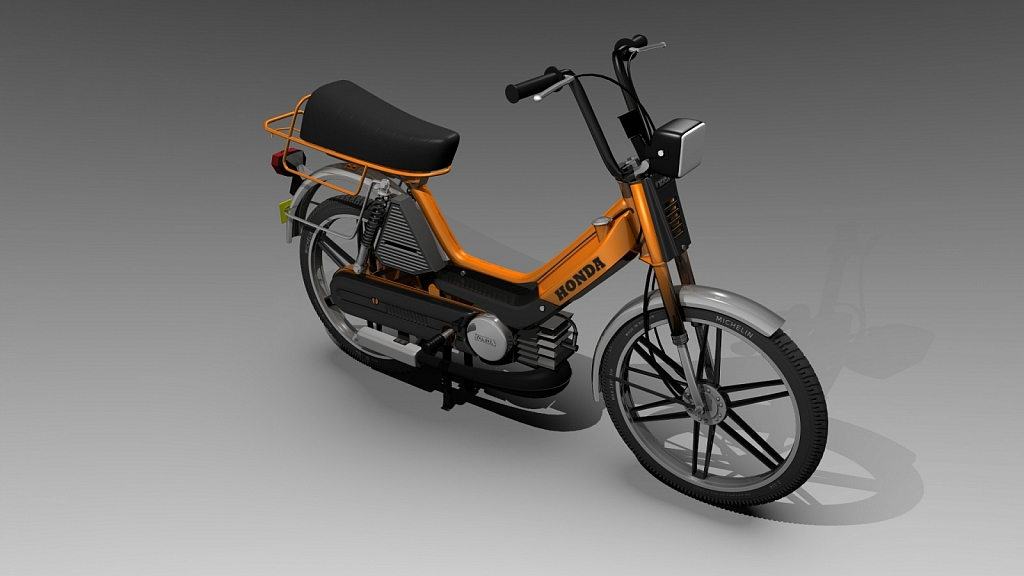 Honda Camino - 3D object(s) i made with Blender, Gimp, Inkscape. Draw almost every thing this legendary moped has.